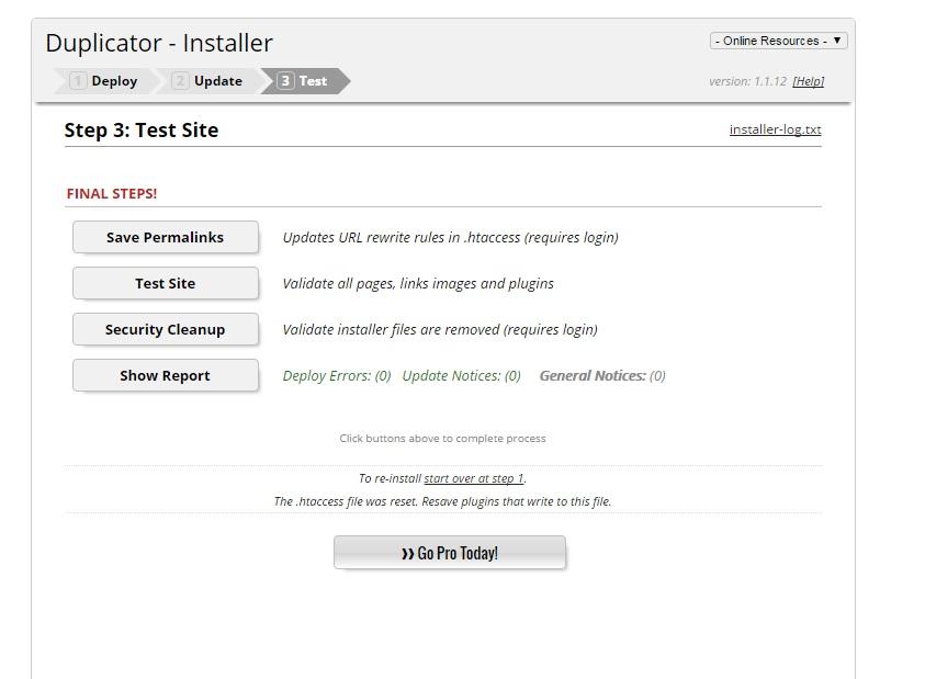 wordpress site clone using duplicator